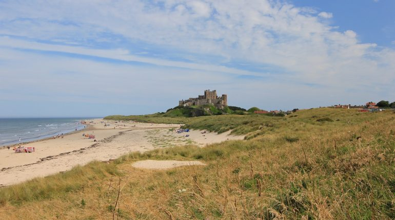 bamburgh beach and castle Northumberland