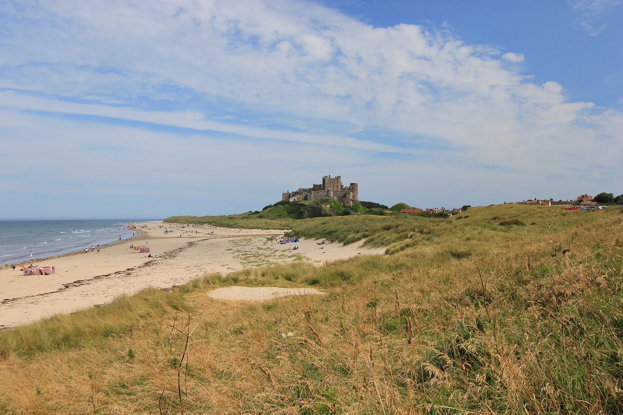 bamburgh beach and castle Northumberland